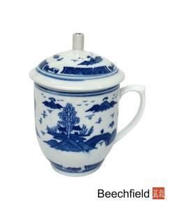 Pagoda Garden Design Tea Infusing Porcelain Mug