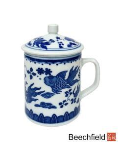 Chinese Goldfish Design Tea Infusing Porcelain Mug