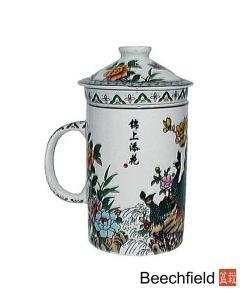 Peacock Design Tea Infusing Porcelain Mug