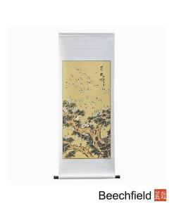 One Hundred Cranes Hand Painted Scroll