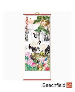 Cranes and Waterfall Chinese Scroll