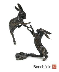 2012 Boxing Hares Bronze Figurine Figure Miniature Butler Peach Beechfield Bonsai