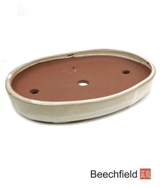 O10-13 Cream Oval Glazed 340mm Bonsai Pot Beechfield Bonsai