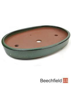 O10-13 Green Oval Glazed 340mm Bonsai Pot Beechfield Bonsai