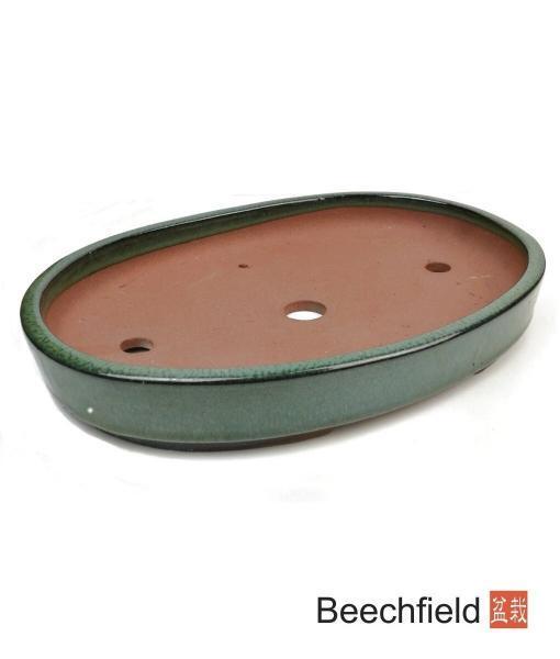 O10-13 Green Oval Glazed 340mm Bonsai Pot Beechfield Bonsai